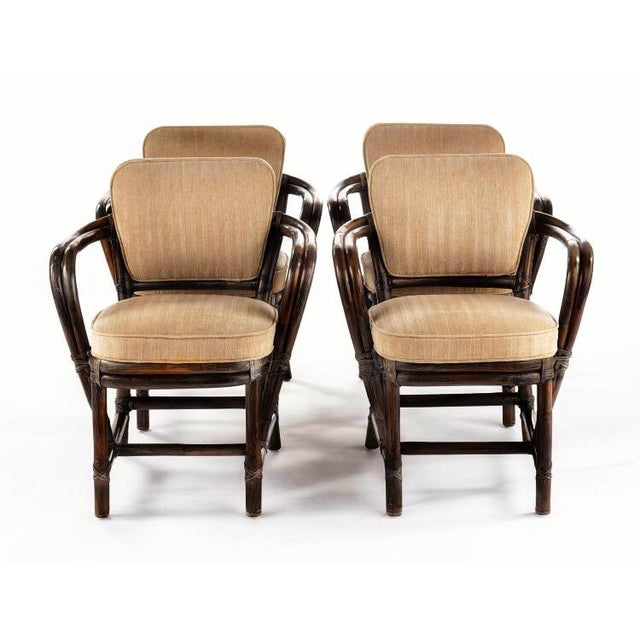 Boho Chic McGuire Bamboo Rattan and Leather Dining Chairs - a Pair - Image 3 of 4