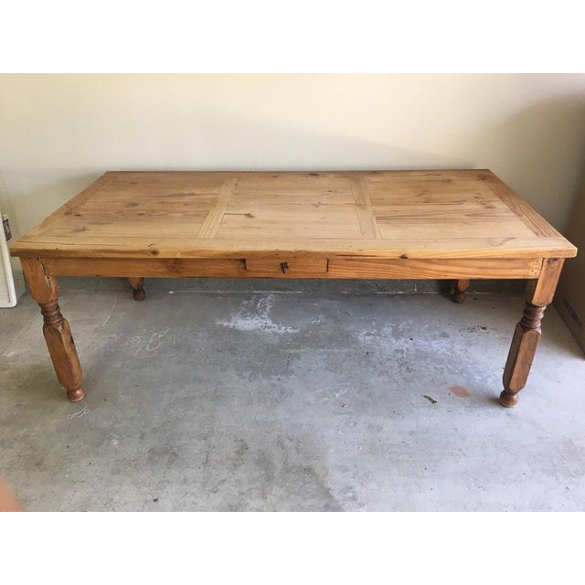 Mexican Carved Wood Single Drawer Dining Table - Image 2 of 6