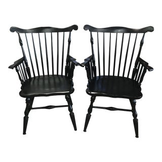 Vintage Mid Century Black Windsor Chairs- A Pair For Sale