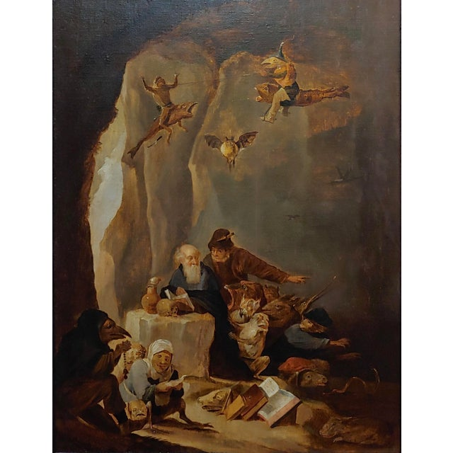 17th Century David Teniers the Younger-Flemish-The Temptation of St. Anthony-Oil Painting-C1680s For Sale - Image 5 of 9