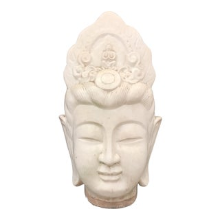 Large Ivory Majolica Buddha Quan Yin Head For Sale