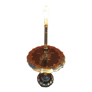 Carved Wood With Laquer and Gold Decoration Floor Lamp