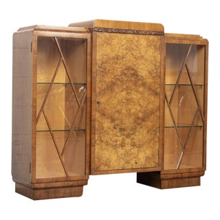 English Art Deco Burl Wood Bar Cabinet
