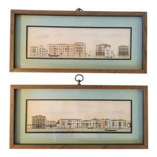 #3 & #4 Venice Architectural Studies - Hand Colored - a Pair For Sale