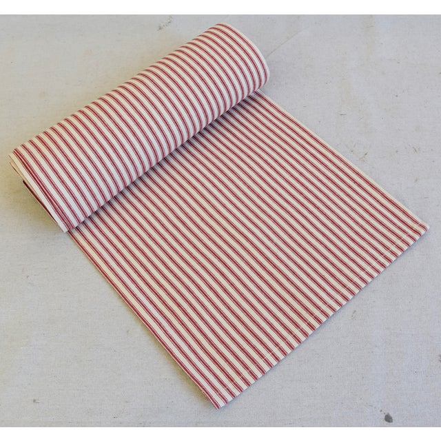 "French Country Red & Ivory Ticking Table Runner 109"" Long For Sale In Los Angeles - Image 6 of 7"