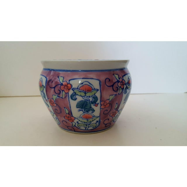 "Small Asian Floral Porcelain Cachepot The perfect size for a small Orchid or herb Opening measures 3.25"" In immaculate..."