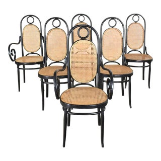 Set of 6 #17 Gebruder Thonet Style Black & Natural Tall Bentwood Chairs by Salvatore Leone For Sale