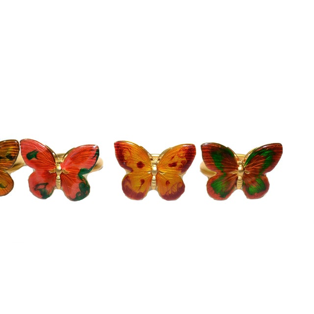 Vintage Cloisonné Butterfly Napkin Holders - S/7 - Image 6 of 8