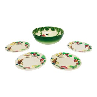 Salad Mixing Bowl & Dishes - Set of 5 For Sale