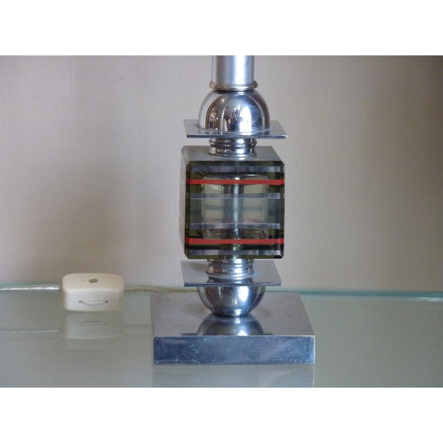 French Art Deco Chrome & Glass Mini Lamp - Image 3 of 5