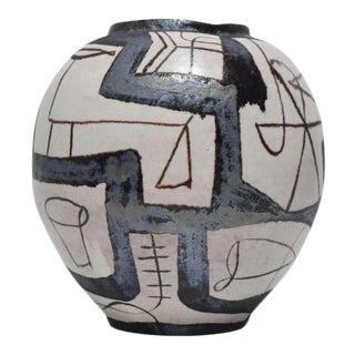 Guido Cambone Style Ovoid Vessel With Geometric Design For Sale
