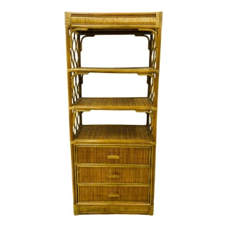 Vintage Bent Bamboo & Wicker Shelf For Sale