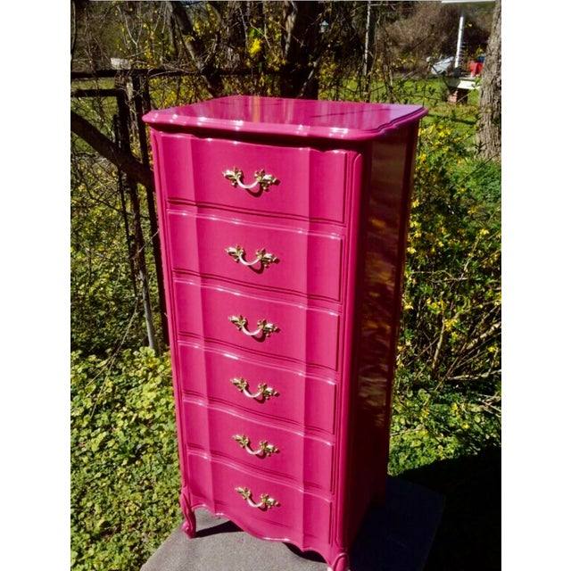 Vintage Henry link French provincial lingerie chest professionally lacquered using catalyst conversion lacquer which...