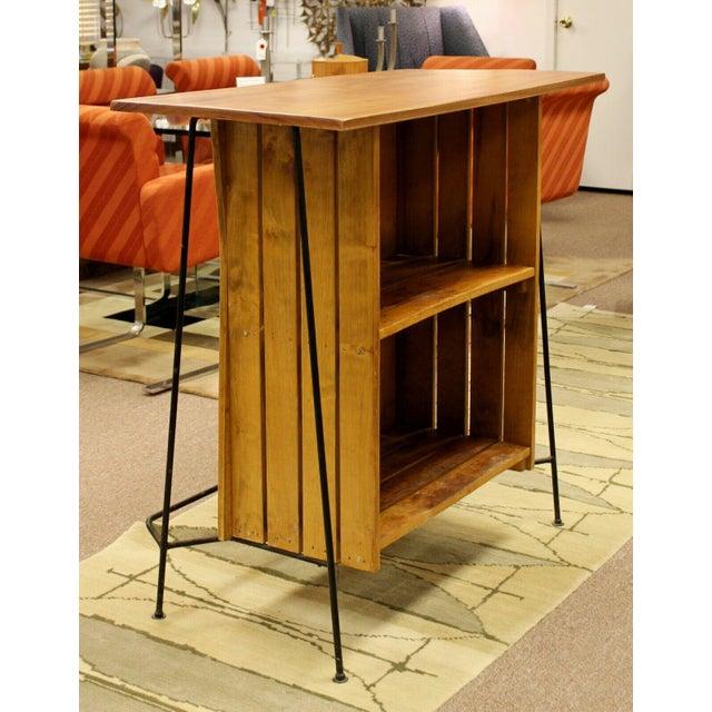 Mid Century Modern Arthur Umanoff for Raymor Iron & Wood Slat Standing Bar 1950s For Sale - Image 10 of 13