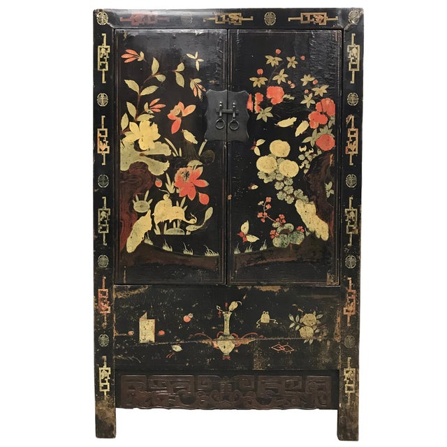 Asian Pair of 19th Century Chinese Painted Cabinets For Sale - Image 3 of 11