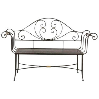 New Black Wrought Iron Bench With Arms and Back For Sale