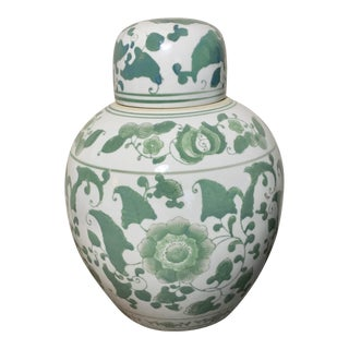 Round Green Floral Ceramic Ginger Jar For Sale