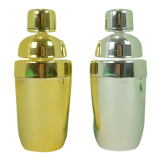Single Serving Plated Martini Shakers - a Pair For Sale