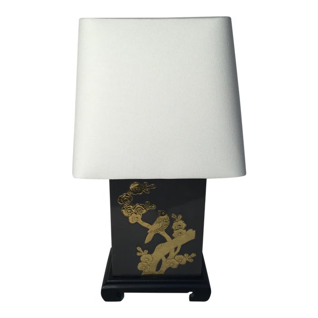 Asian Motif Brass & Metal Table Lamp For Sale