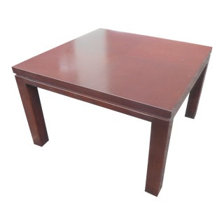 Mid-Century Modern Henredon Expresso Parquet Top Side Table For Sale