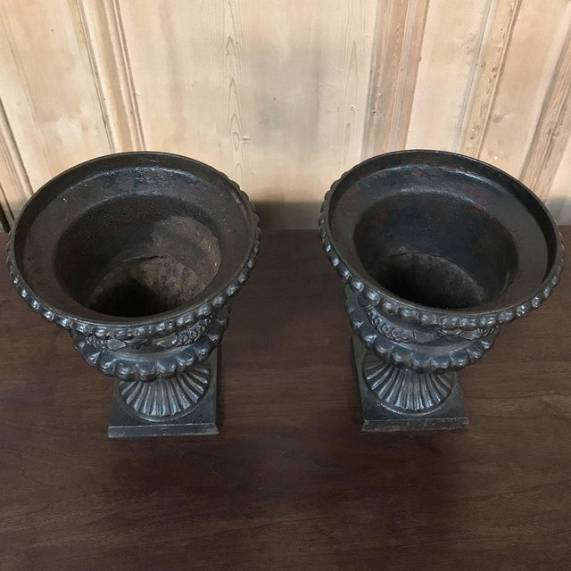 Garden Urns, 19th Century Neoclassical in Cast Iron - a Pair For Sale In Dallas - Image 6 of 13