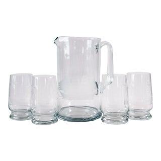 Vintage Clipper Ship Etched Crystal Barware Set by Toscany For Sale