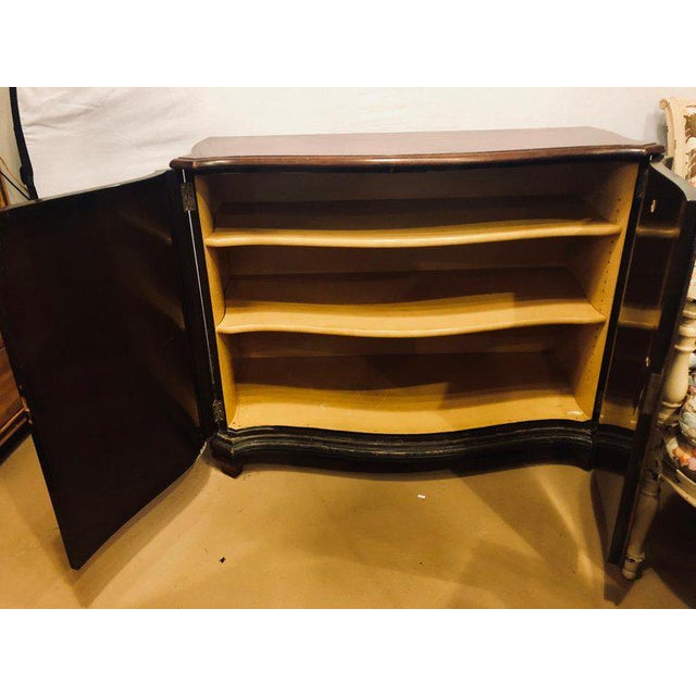 Black Fine Custom Quality Ebony Chinoiserie Commode or Cabinet Server For Sale - Image 8 of 13