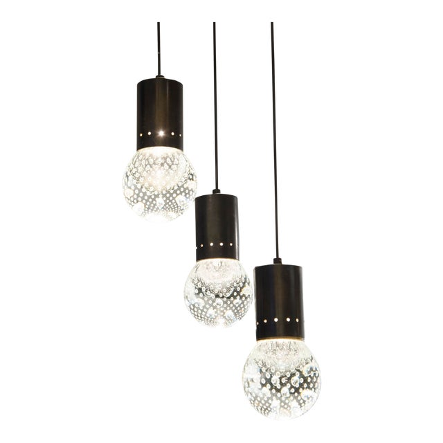 Triple Pending Lighting in Glass and Lacquered Steel by Seguso - Italy 1950's For Sale