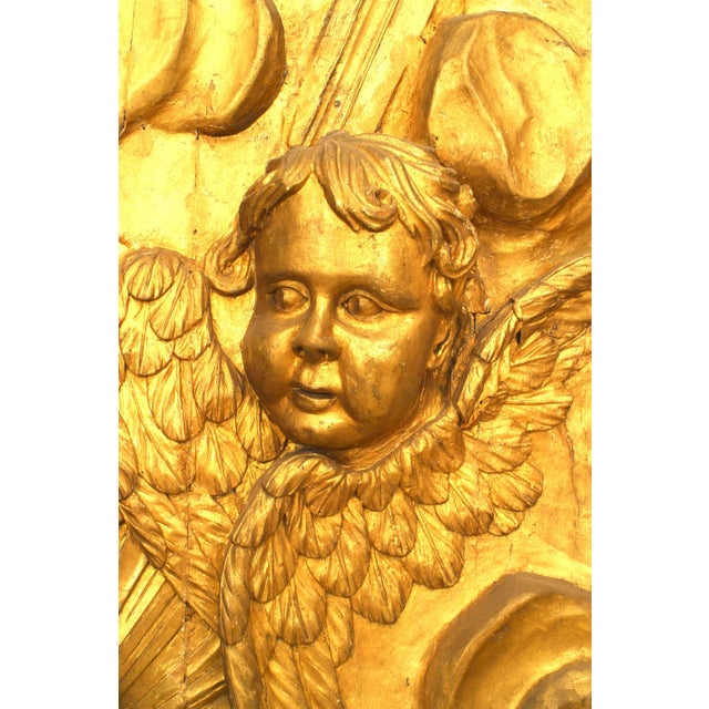 Late 18th Century 18th-19th Century French Louis XV Style Large Gilt Wall Plaque For Sale - Image 5 of 7