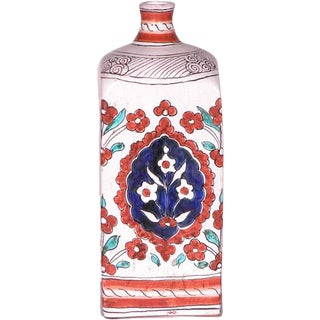 1990s Vintage Italian Hand Painted Ceramic Bottle For Sale