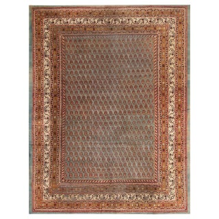 Antique Amritsar Blue and Gold-Brown Wool Rug With Burgundy Accents - 9′ × 11′8″ For Sale