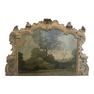 Early Landscape in Carved Boiserie Frame For Sale