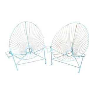 Vintage Mid Century Pair of French Modernist Wire Iron Garden Egg Chairs For Sale