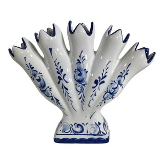 5 Finger Tulip Vase Blue White Signed Portugal Small Delft Vase For Sale