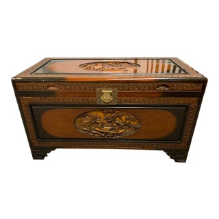 Asian Carved Wood Trunk For Sale