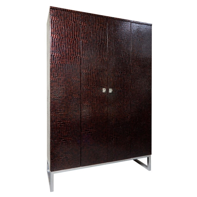 Art-Deco Inspired Contemporary Patent Leather Crocodile Print Cabinet With Suede For Sale - Image 6 of 6