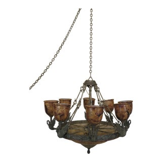Maitland Smith Large Bronze 8 Swan Arm Chandelier For Sale