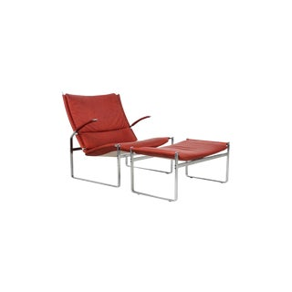 Preben Fabricius and Jorgen Kastholm Lounge Chair and Ottoman For Sale