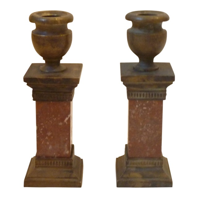 Late 19th Century Vintage Neoclassical Style Candle Holders- A Pair For Sale