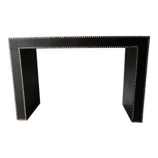 Embossed Leather Tack Edging Console Table For Sale