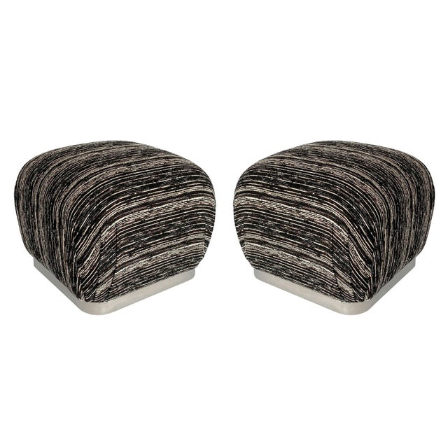 Karl Springer Style Chrome Souffle Pouf Ottomans - a Pair For Sale - Image 13 of 13