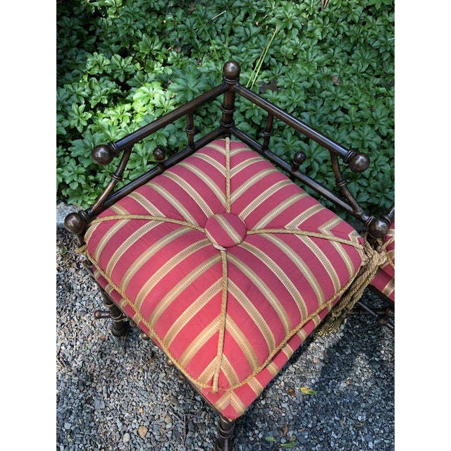Boho Chic Bronzed Iron Faux Bamboo Bench For Sale - Image 3 of 7