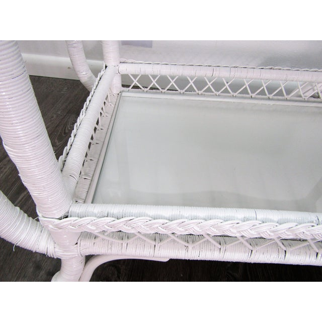 1940's Wicker Bar Cart in White Lacquer For Sale - Image 4 of 10