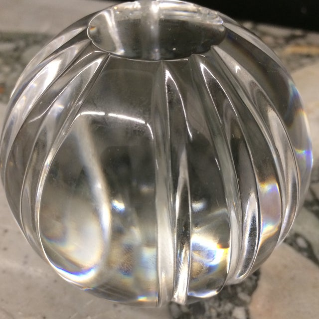 Crystal Round Paper Weights - a Pair For Sale - Image 4 of 6