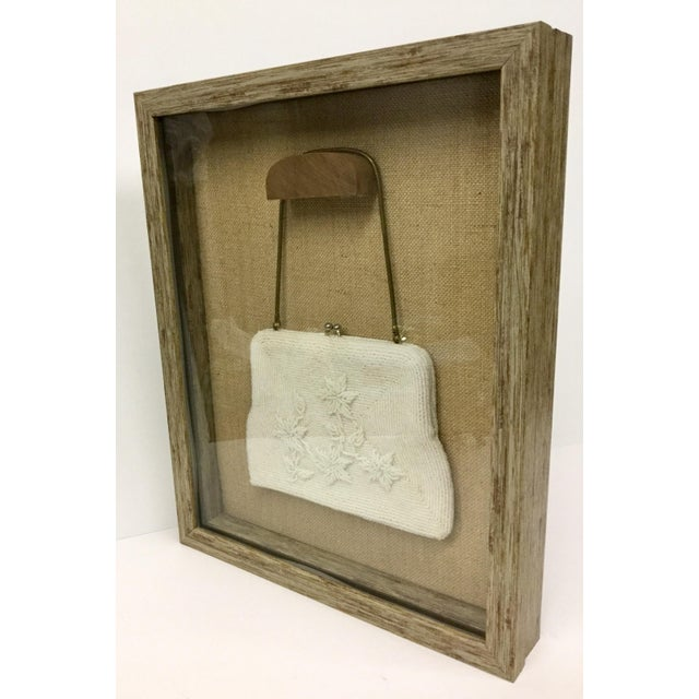 White Framed Antique Beaded Purse Shadow Box Art For Sale - Image 8 of 13