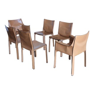 1980's Vintage Mario Bellini Leather Cab Dining Chairs- Set of 6