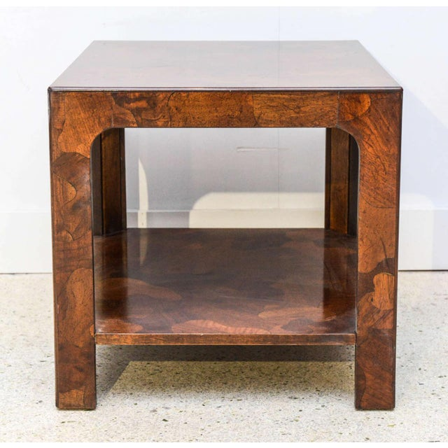 Veneer American Modern Inlaid Mixed Wood Table, American of Martinsville For Sale - Image 7 of 9