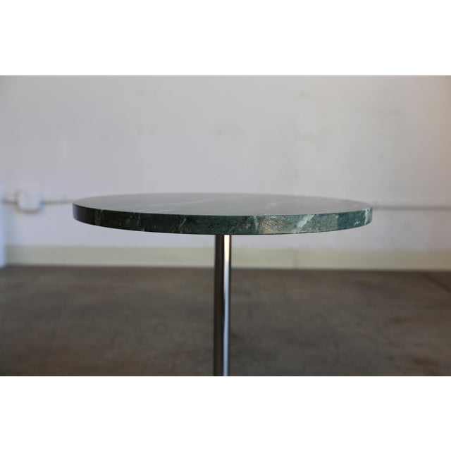 Gerald R. Griffith Marble & Stainless Steel Side Tables - a Pair For Sale - Image 4 of 9