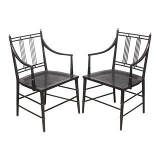 Pair of Black Caned Bottomed Chairs, 1970s, Usa For Sale