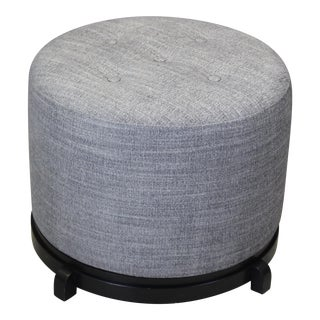 Mid Century Chenille Ottoman on Black Base For Sale